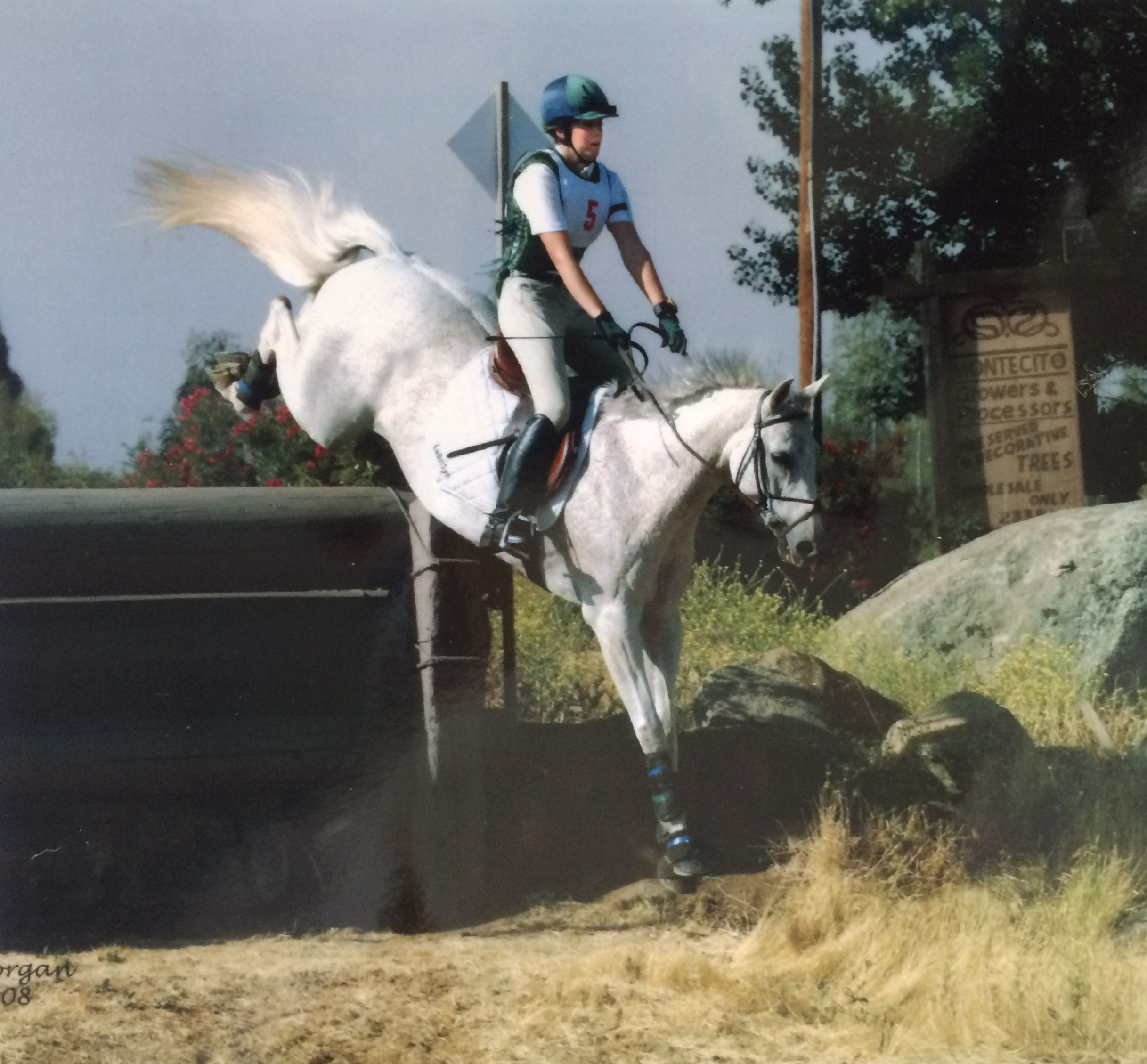 Hannah Childs and Harry Potter going down a huge bank!