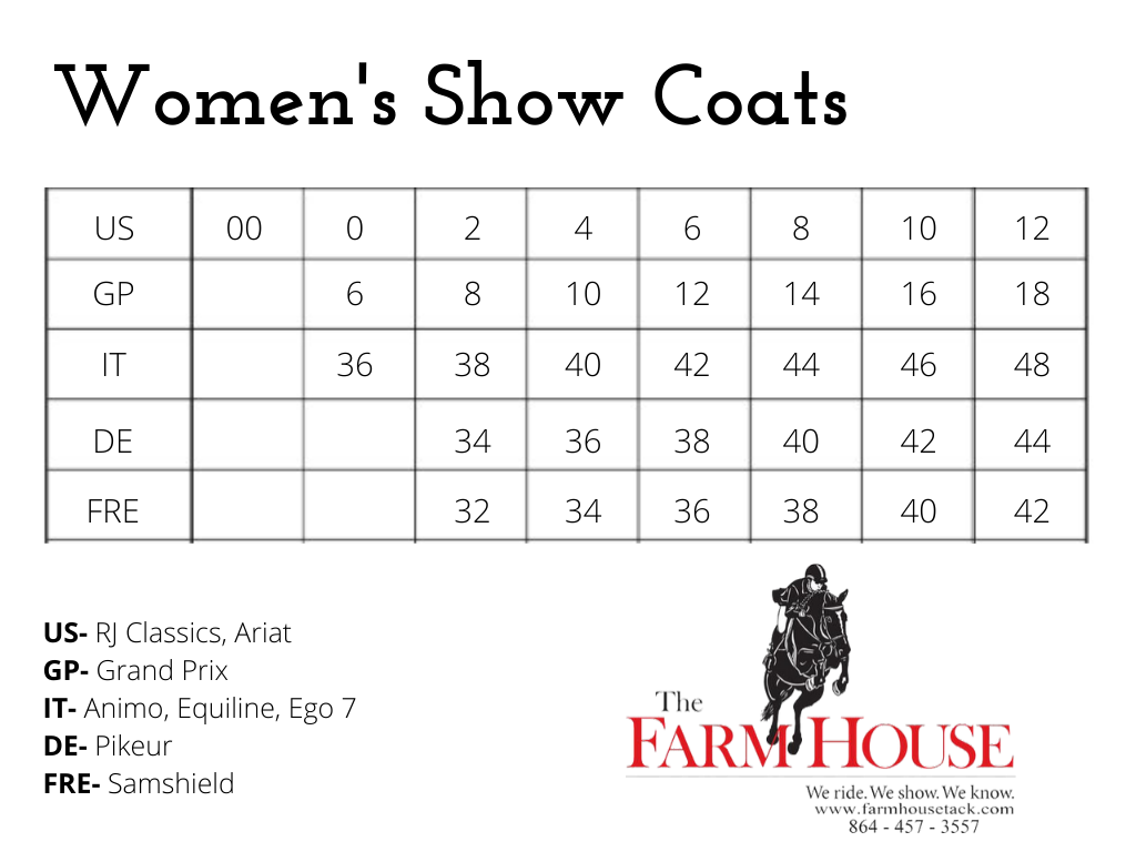 Show Coat Sizing