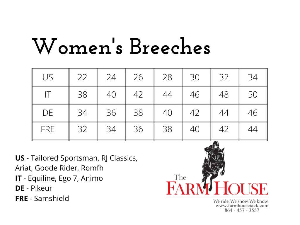 Breeches sizing cheat cheat